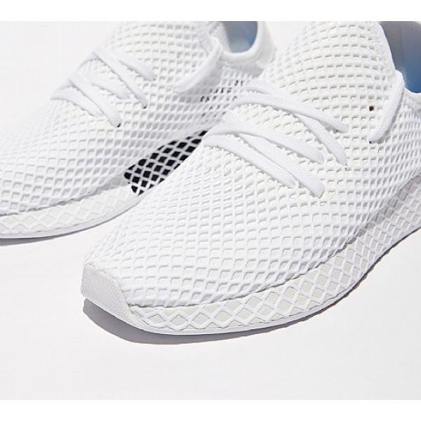 Neu Adidas Deerupt Runner Herren Weiß Laufschuhe Auslauf