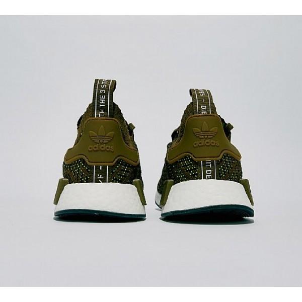 Billig Adidas NMD R1 Primeknit STLT Herren Olive Laufschuhe Auslauf