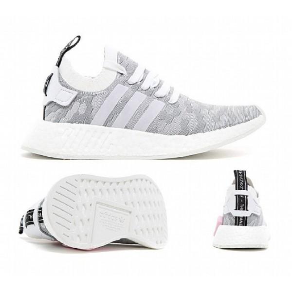 Billig Adidas NMD R2 Primeknit Damen Weiß Laufsch...