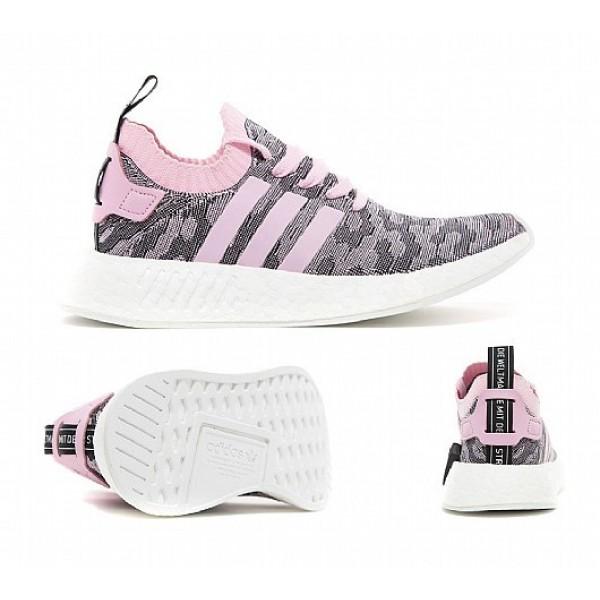 Billig Adidas NMD R2 Primeknit Damen Rosa Laufschuhe Auslauf