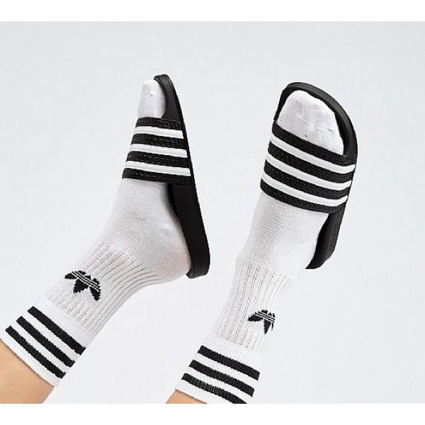 Stilvoll Adidas Adilette Damen Schwarz Sandalen Au...