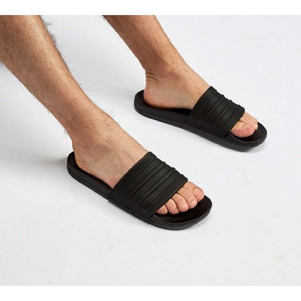 Neue Adidas Adilette Cloudfoam Pluss Herren Schwarz Sandalen Verkauf