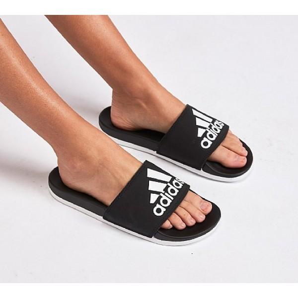 Neue Adidas Adilette Cloudfoam Pluss Damen Schwarz Sandalen Online